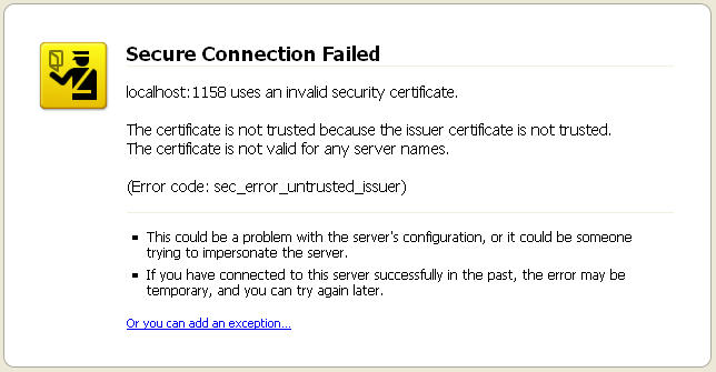 Localhost:1158 Uses An Invalid Security Certificate | MacLochlainns ...