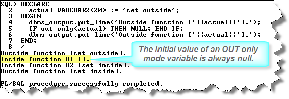 Quick review of PL/SQL formal parameter modes