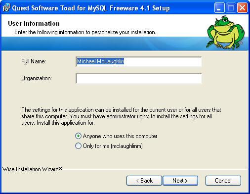 ToadMySQL4