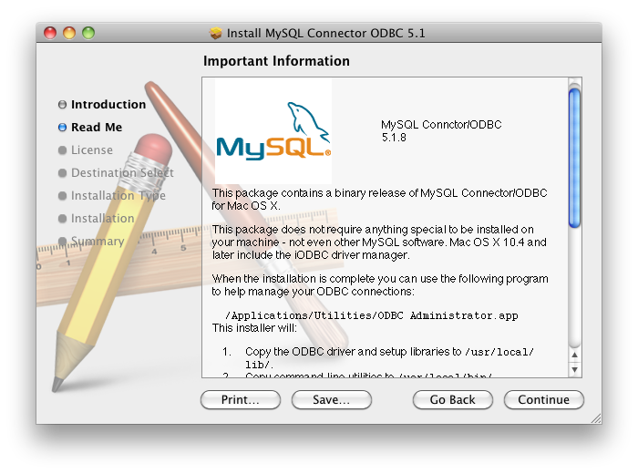 Install MySQL Mac ODBC Install Screen Shot #3