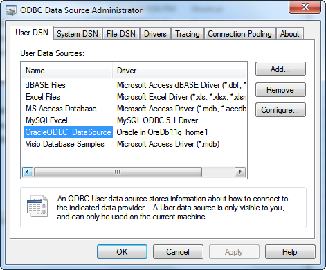 Sql*xl: excel database connection through odbc: create new data source.