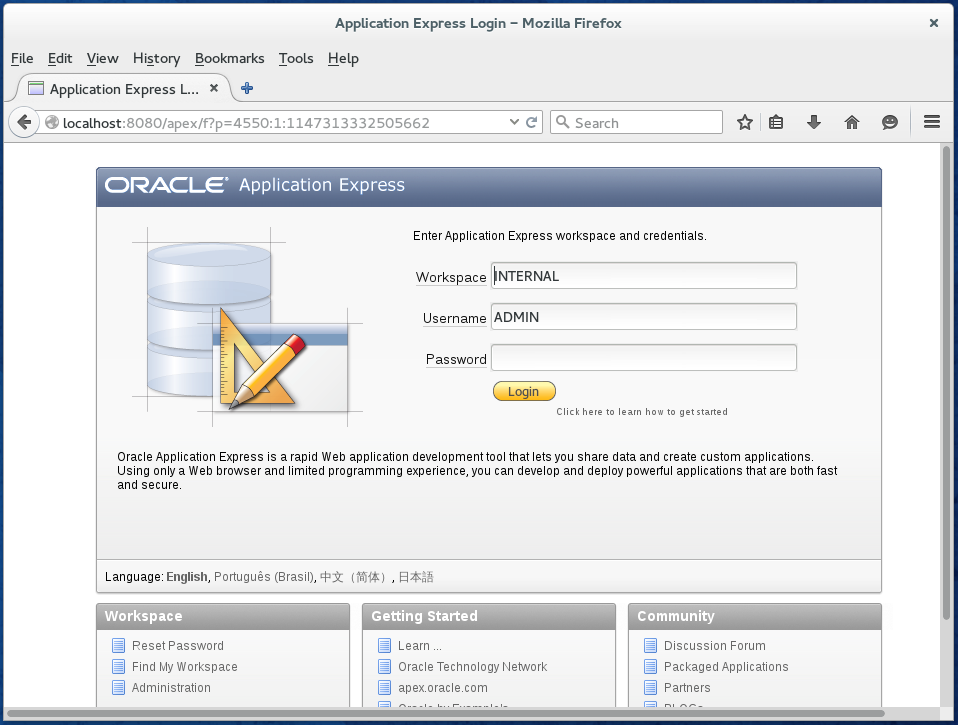 How to access Oracle Database 11g APEX 4