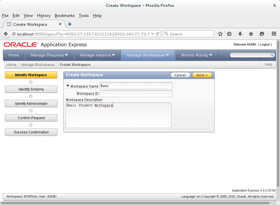 Create an APEX Workspace